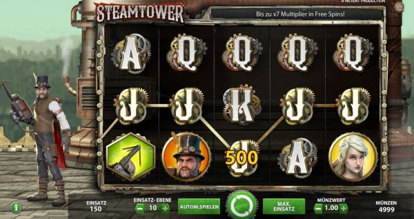 Steam Tower Videoslot im Betsson Casino