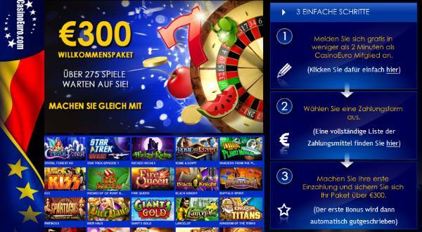 Willkommenspaket im Casino Euro