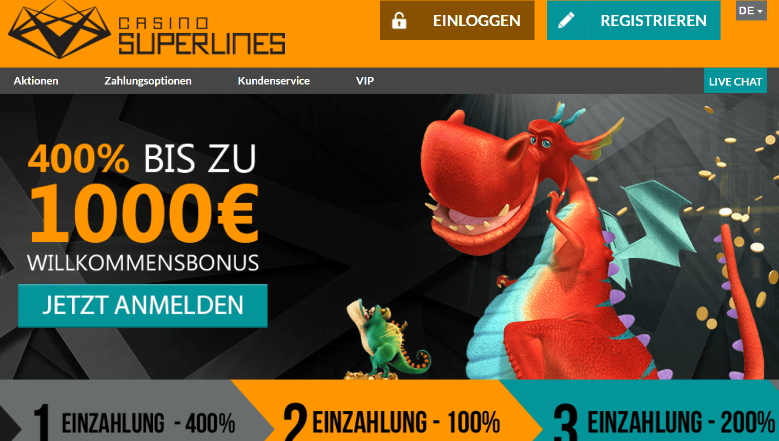 Casinosuperlines mit 400% Bonus