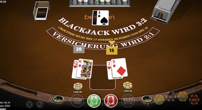 Split Deck beim Black Jack Spiel