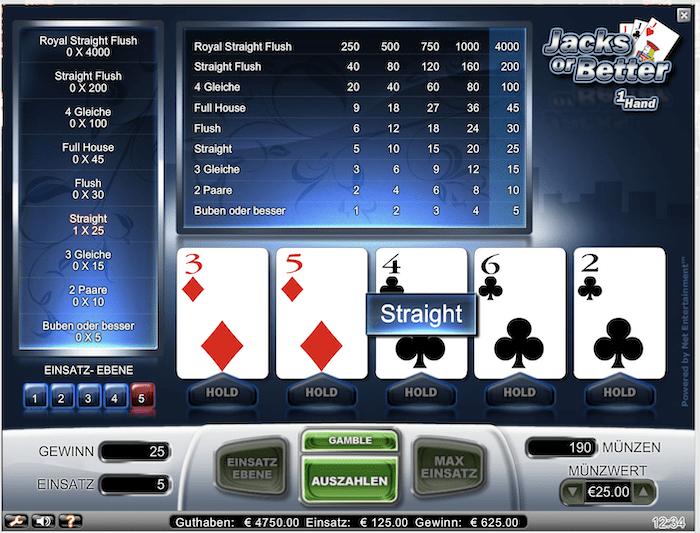 Videopoker im Online Casino spielen