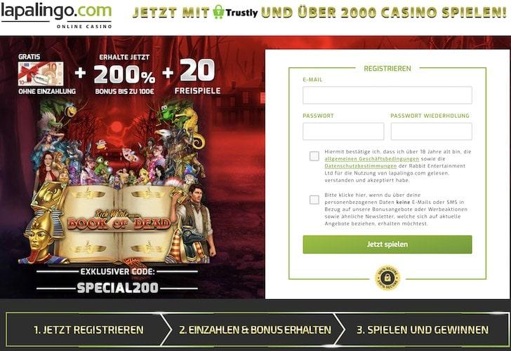 10 Euro Bonus ohne Einzahlung im Lapalingo Casino