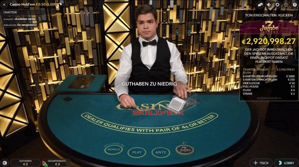 Live Casino Holdem Poker mit Jackpot